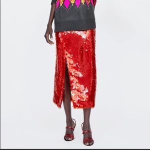 Zara sequin pencil skirt in red.